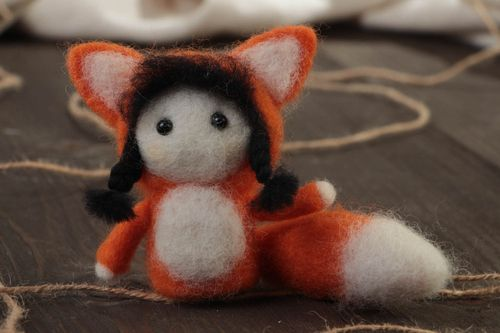 Small handmade designer felted wool toy fox childrens pocket friend - MADEheart.com