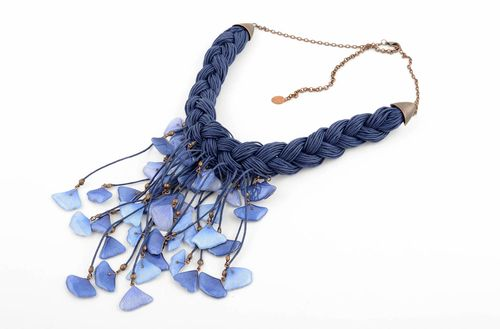 Handmade cord necklace designer accessories unique bijouterie present for woman - MADEheart.com