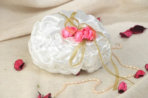 Small white handmade satin ring bearer pillow with flowers - MADEheart.com