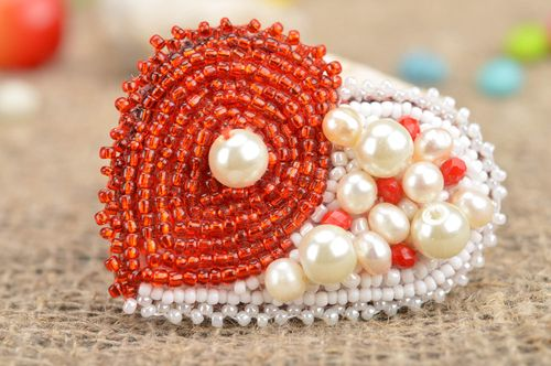 Handmade stylish beautiful red and white brooch made of large and seed beads  - MADEheart.com