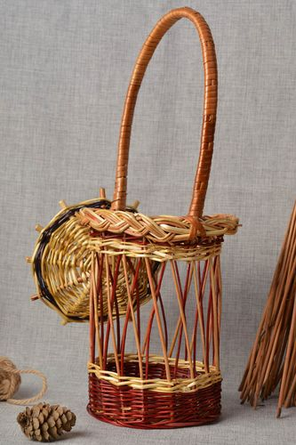 Unusual handmade woven cachepot interior decorating home goods gift ideas - MADEheart.com
