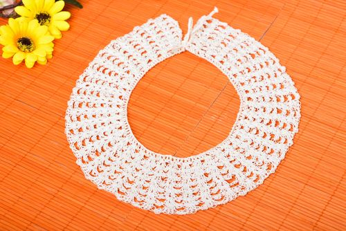 Handmade openwork collar for dress white crocheted collar fashion accessories - MADEheart.com
