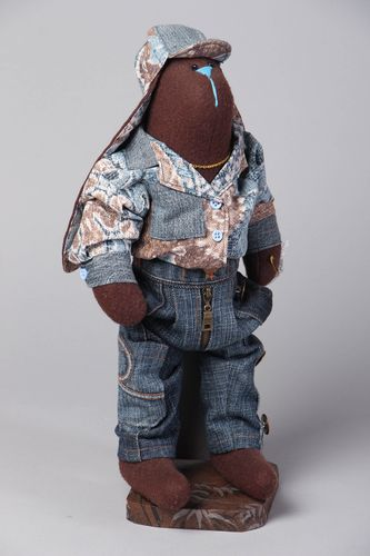 Fabric soft toy with stand Rabbit in Denim Costume - MADEheart.com