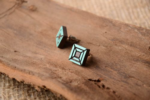 Stylish handmade wooden earrings stud earrings beautiful jewellery for girls - MADEheart.com