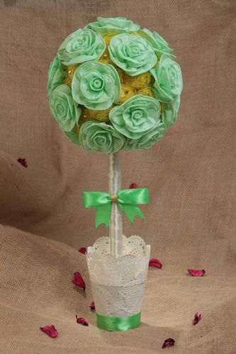 Handmade designer round sisal round topiary tree with flowers of mint color - MADEheart.com