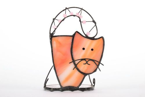 Stained glass candlestick Cat - MADEheart.com