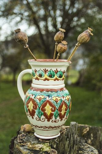 8 inches ceramic handmade ethnic style water pitcher in white and green colors 1,5 lb - MADEheart.com