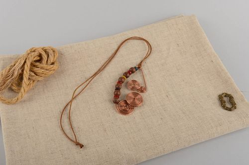 Beautiful womens handmade designer copper pendant with wood beads - MADEheart.com