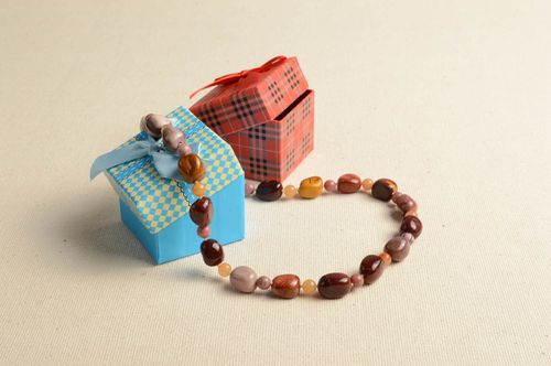 Handmade beads long beads with natural stones design jewelry women necklace  - MADEheart.com