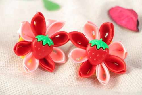 Handmade festive hair ties with red satin ribbon kanzashi flowers set of 2 items - MADEheart.com