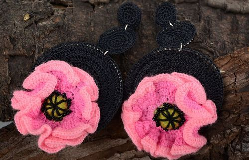 Crocheted earrings with flower - MADEheart.com
