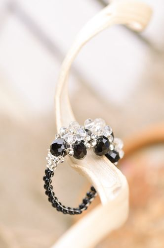 Handmade black volume beaded ring with white flowers for girl - MADEheart.com