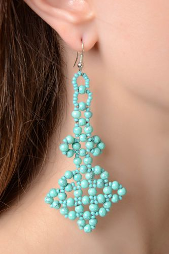 Handmade woven beaded long earrings of turquoise color - MADEheart.com