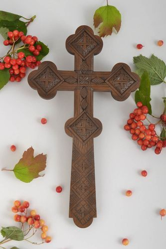 Handmade carved cross unusual wall decoration interior decor wooden cross - MADEheart.com