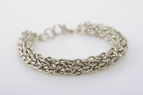 Thin handmade jewelry alloy bracelet chain mail weaving stylish bijouterie - MADEheart.com