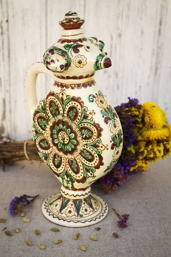 30 oz ceramic pitcher wine circle shape carafe in ethnic style in UNIQUE design 4 lb - MADEheart.com