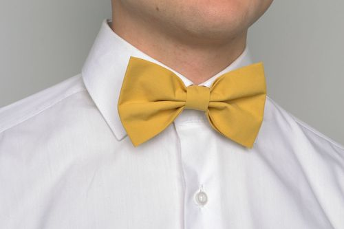 Textile mustard bow tie - MADEheart.com