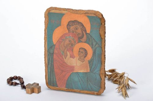 Reproduction of the icon on wood The Holy Family - MADEheart.com