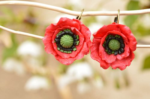 Handmade designer dangle earrings with polymer clay volume flowers red poppies - MADEheart.com