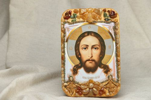 Jesus Christ icon made of wood and stones - MADEheart.com