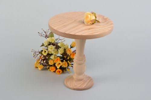 Homemade round wooden wedding cake holder on long leg wedding accessory - MADEheart.com