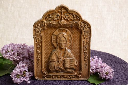 Carved wooden small icon with metal fastening Jesus Christ handmade wall panel - MADEheart.com