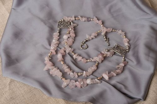 Handmade designer multi row necklace with pink quartz and metal elements - MADEheart.com