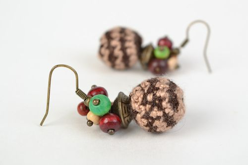 Handmade cute ball-shaped dangling earrings crocheted of acrylic threads Berries - MADEheart.com
