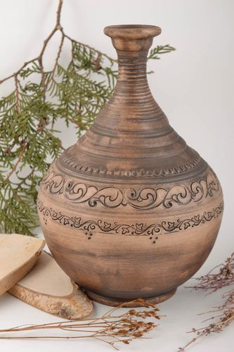 60 oz ceramic wine carafe in Greek style amphora 2,7 lb - MADEheart.com