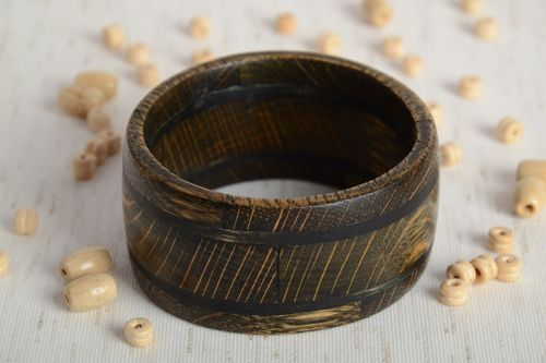 Broad handmade carved tinted wooden wrist bracelet with inlay for women - MADEheart.com