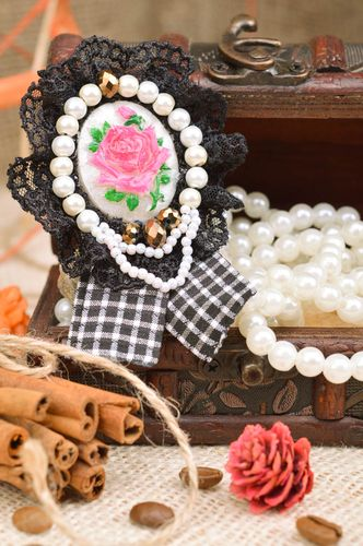 Handmade brooch with flower lace and beads black and white beautiful accessory - MADEheart.com