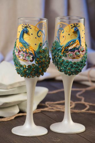 Handmade 2 decorative painted wedding champagne glasses with molded elements - MADEheart.com