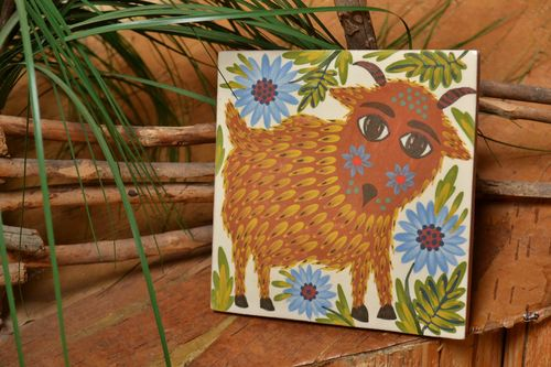 Handmade decorative painted tile made of clay for childrens room wall panel - MADEheart.com