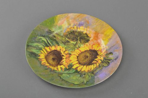 Decorative designer decoupage glass round plate handmade Sunflowers painted - MADEheart.com