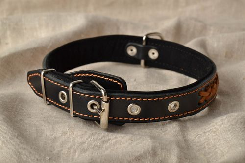 Black dog collar with braiding - MADEheart.com