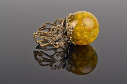 Handmade yellow ring with real helichrysum flower coated with epoxy - MADEheart.com