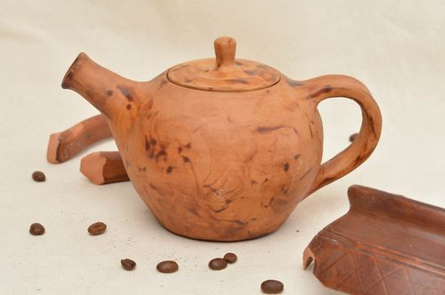 Beautiful handcrafted clay teapot unusual ceramic teapot collectible items - MADEheart.com