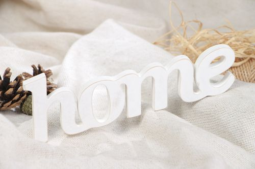 Handmade plywood chipboard inscription of white color for home decor  - MADEheart.com