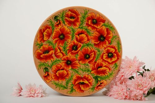 Painted decorative plate made of wood handmade lacquered wall panel Poppies - MADEheart.com