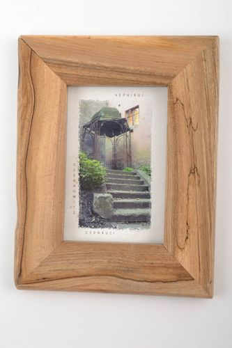 Wooden cute handmade lacquered beautiful frame for photo in eco style - MADEheart.com