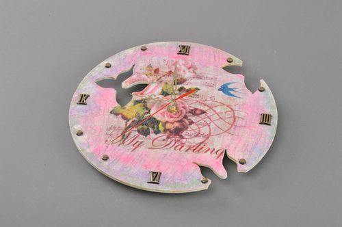 Beautiful handmade round decoupage plywood wall clock Summer Butterflies - MADEheart.com
