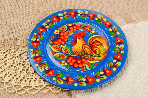 Handmade blue wooden plate designer painted plate decorative use only - MADEheart.com