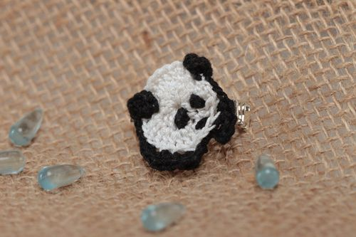 Cotton crocheted handmade baby brooch in the form of panda designer jewelry - MADEheart.com