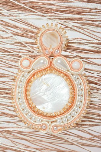 Handmade brooch soutache accessory soutache jewelry with natural stones - MADEheart.com