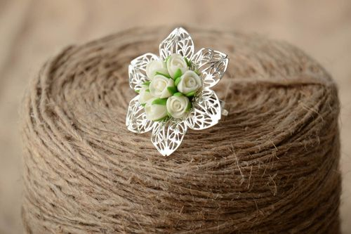 Handmade metal jewelry ring with large volume cold porcelain white rose flowers - MADEheart.com