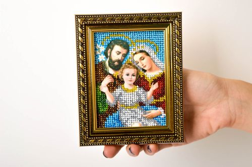 Handmade embroidered icon beautiful beaded icon family icon home amulet - MADEheart.com