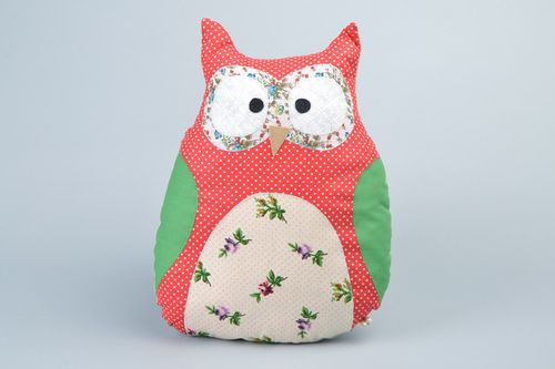 Handmade soft pillow pet sewn of cotton fabric in the shape of colorful owl - MADEheart.com