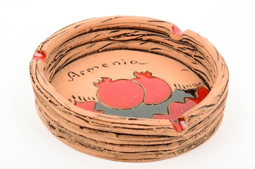 Beautiful handmade ceramic ashtray pottery works clay craft best gifts for him - MADEheart.com