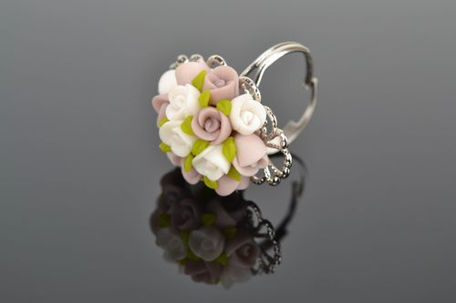 Polymer clay flower ring - MADEheart.com