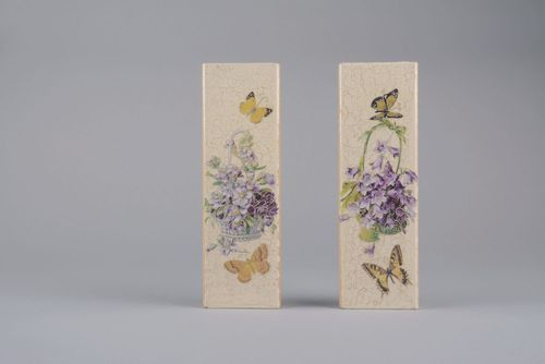 Set of wall panels Baskets with violets and bells - MADEheart.com